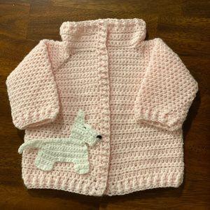 New handmade 0-6 month pink sweater dog appliqué